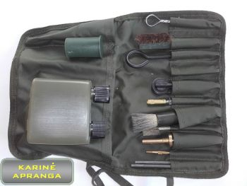 Ginklų valymo ir priežiūros komplektas. Weapon cleaning and maintenance kit.