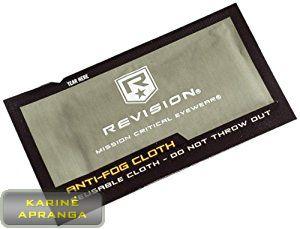 Servetėlė nuo stiklų rasojimo. Revision Military Anti-Fog Cloth on clean lenses