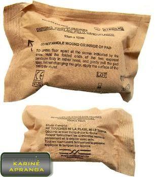 Britų kariuomenės pirmosios medicininės pagalbos tvarstis (Emergency Bandage).