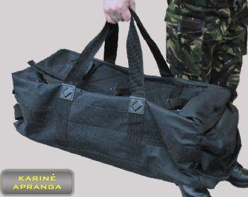 Profesionalus kariuomenės juodas kelioninis krepšys.