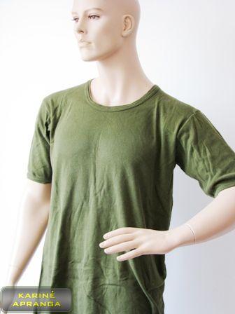 Žali, medvilniniai marškinėliai.