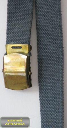 Pilkas diržas su geltono metalo sagtimi.