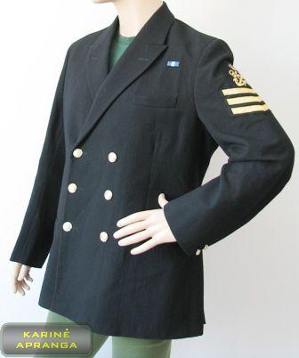 Juodas karinių jūrų pajėgų vyriškas paradinis švarkas.
