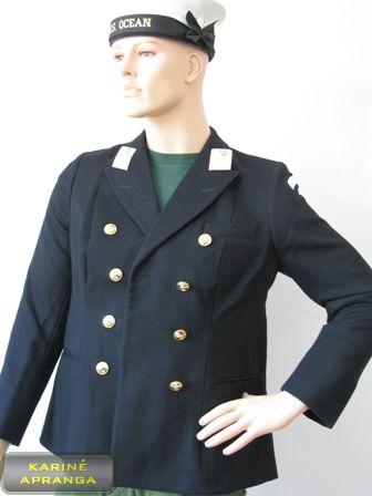 Juodas karinių jūrų pajėgų moteriškas paradinis švarkas.
