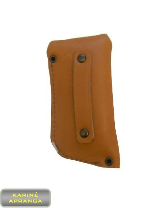 Natūralios, rudos odos peilio dėklas.