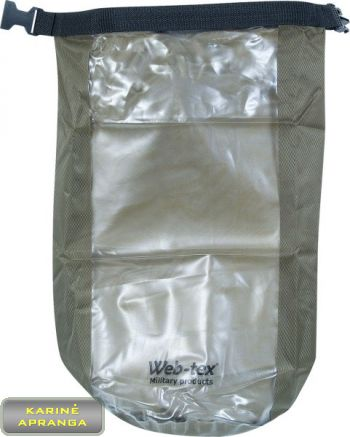 """Žalios spalvos, neperšlampamas, nailoninis krepšys """"Web-tex""""  su tvirtu plastikiniu užsegimu ir permatoma išilgine juosta."""