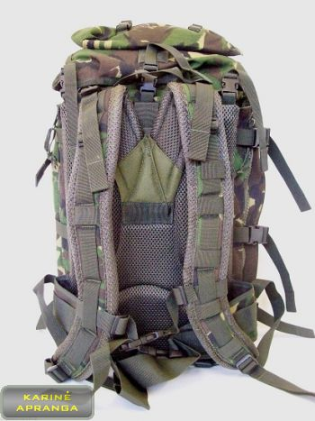 Kuprinė, žalios slepiamosios DPM marginimo spalvos 45 L (British army military rucksack DPM Bowman patrol tactical backpack, green)
