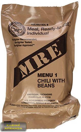 JAV kariuomenės individualūs sausi kariniai maisto daviniai (Meal, Ready-to-Eat arba MRE) 8 val.