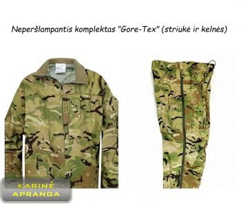 Neperšlampantis komplektas Gore-Tex, MTP, MPV (striukė ir kelnės). Lightweight Waterproof suit (Jacket and Trousers) MTP, MVP.