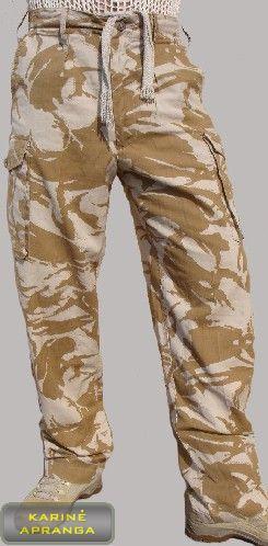 Smėlio  spalvos maskuojamosios britų kariuomenės kelnės