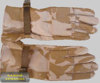 Smėlio spalvos maskuojamosios britų kariuomenės odinės pirštinės