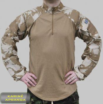 Smėlio spalvos tinkliniai maskuojamieji britų kariuomenės marškiniai su rankų apsaugomis.