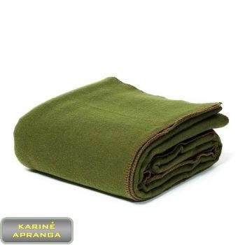 Kariuomenės vilnonis pledas-užtiesalas tamsus. Army Blanket wool single moss green.