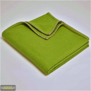 Kariuomenės vilnonis pledas-užtiesalas salotinis. Army Blanket wool single moss green.