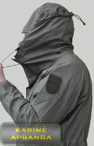 Neperšlampamas austrų kariuomenės švarkas su gobtuvu