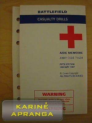Taktinė sužeistojo gelbėjimo atmintinė, mažai naudota (Battlefield casuality drills aide memoire, used, Grade 1)