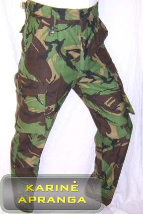 Žalios maskuojamosios kariuomenės kelnės skirtos šaltajam metų periodui.
