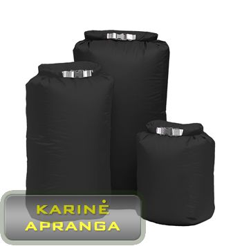 Neperšlampamas medžiaginis (iš vidaus gumuotas) krepšys-maišas 45x29 cm (juodas).Fold DryBag M/ BLK Colllection