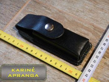 Natūralios odos, juodas pistoleto dėtuvės dėklas (naujas).