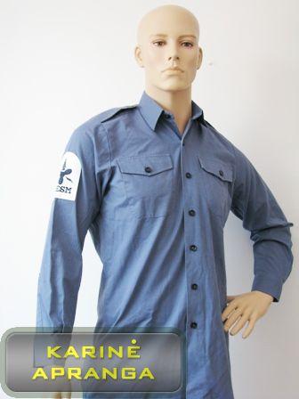 Melsvi jūrininkų marškiniai su antsiuvu.