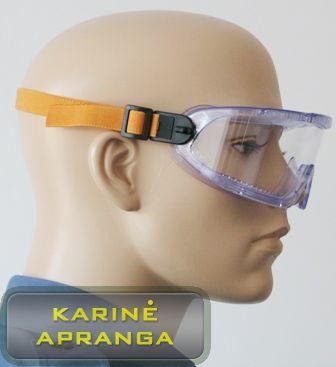 Apsauginiai akiniai su oranžine tvirtinimo juostele