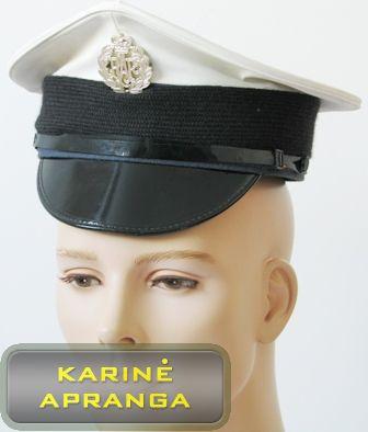 Paradinė kepurė su skiriamuoju ženklu 55 cm (balta, juoda).