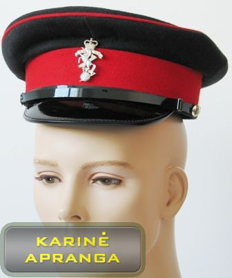 Paradinė kepurė su skiriamuoju ženklu (juoda, raudona).
