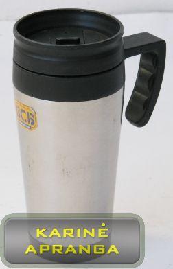 Metalinis puodelis/termosas su rankena ir dangteliu BCB 0,3 l.talpos.