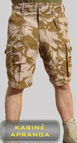 Smėlio spalvos maskuojamieji britų kariuomenės šortai