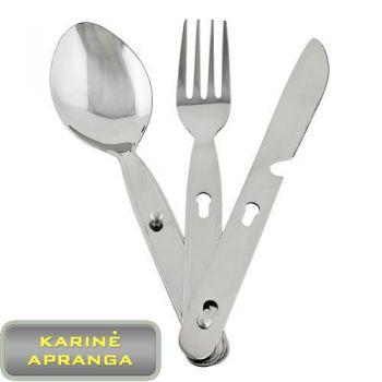 Originalus Britų kariuomenės maisto įrankių komplektas. Army Knife, Fork, Spoon and Bottle opener.