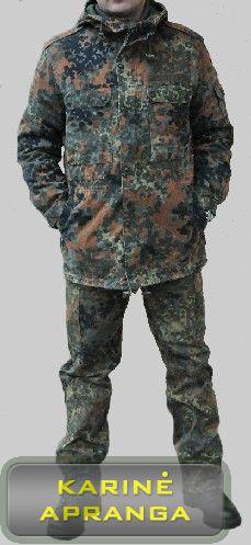 Maskuojamoji vokiečių kariuomenės BW striukė su šiltu pamušalu