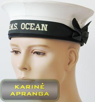 Moteriška, paradinė, karinių jūrų pajėgų kepurė su skiriamuoju ženklu (juoda, balta).