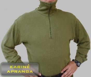 Žalios spalvos šilti britų kariuomenės marškiniai su 1/4 užtrauktuku.