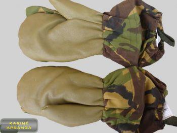 Žalios maskuojamosios šiltos kumštinės pirštinės su oda